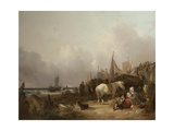 Coastal Scene with Figures Giclee Print by William Snr. Shayer