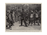 Rival Representatives of Law and Order at Shanghai, a Native Procession in the British Settlement Impressão giclée por William T. Maud