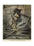 Diver Searching for Shipwrecks in the Depths of Le Havre Giclee Print
