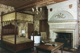 Four-Poster Bed and Fireplace in Room of Honour of Fontaine-Henry Castle Photographic Print