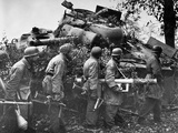 German Soldiers Gathered Behind the Wreckage of an American M4 Sherman Tank Photographic Print