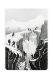Henriette D'Angeville Crossing Crevasse on Mount Blanc in Company of Her Guides and Porters Giclee Print