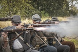 Historical Reenactment: Confederate (Southern) Soldiers Using Muzzle-Loading Percussion Rifles to F Photographic Print