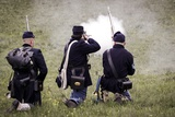 Historical Reenactment: Volunteer Soldiers of the Union (Northern) Army Firing their Muzzle-Loading Photographic Print