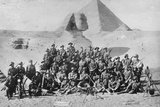 Informal Group Portrait of an Australian Infantry Signal School in Front of the Sphinx and Pyramid. Photographic Print