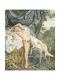 Le Someil D'Érigone. the Sleep of Érigone. Semi Naked Woman Resting on a Be Giclee Print