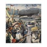 Launching of Battleship Andrea Doria from Arsenale in La Spezia Giclee Print