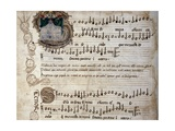 Liber Capella (Song Book) with Music Score of Mass for Four Voices by Heinrich Isaac (1445-1517) Giclee Print