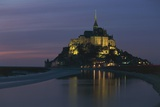 Night View of Benedictine Abbey of Mont-Saint-Michel Photographic Print