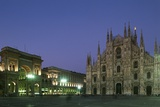 Night View of Cathedral Square with the Facade of Milan Cathedral (14th Century) and the Vittorio E Photographic Print