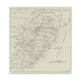 Section of a Map of South Africa Giclée-tryk