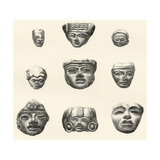 Stone Heads and Masks Found at Teotihuacan Giclee Print