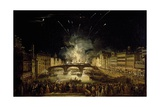 View of Bridge at Carraja with Fireworks for Celebration of St John Baptist Giclee Print