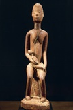 Wood Sculpture Depicting Mother and Child Giclee Print