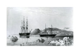HMS Assistance in Tow of Pioneer Passing John Harrow Mount, North Wellington Channel in 1853 Giclee Print