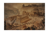 The Acropolis at Pergamon . Turkey. Altar of Zeus. Imaginary Reconstruction by German Painter Fried Giclee Print