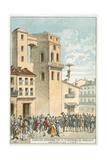 Sebastien Lenormand Making the First Parachute Descent, Montpellier, 1783 Giclee Print
