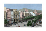 Spain. Catalonia. Barcelona. Lithography. La Rambla and the Gran Teatro Del Liceo (Opera House) Giclee Print