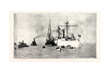 The U.S. Cruiser Charleston Receiving on Board the King of Hawaii's Body in San Francisco Harbour f Giclee Print
