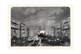 Procession of Funeral Gondolas with the Body of Daniel Manin on the Grand Canal Venice 1868 Giclee Print