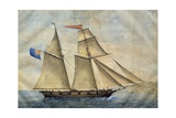 Sardinian Barquentine Cristina, 1829, Watercolour by Pittalunga, Italy, 19th Century Giclee Print