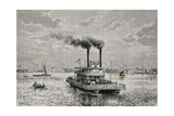 Boat on Mississippi, 1892, by Taylor Taken from Geographie Universelle, 19th Century Giclee Print