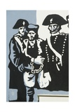 Carabinieri (Police) with Prisoner, Mural on Orgosolo Middle School, Sardinia, Italy Giclee Print