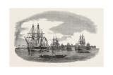 The Western Coast of Africa: the Anchorage Off the Town of Bonny River, 1850 Giclée-Druck