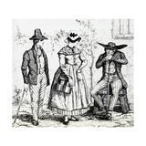 Costumes from Correze (Limousin), 1835, from Picturesque France by Hugo Giclee Print