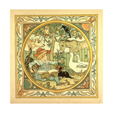 A Child Surrounded by a Cat Donkey Geese a Raven a Mouse a Frog an Owl and a Cow Giclée-tryk