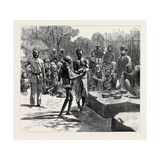 The Famine in the Madras Presidency: the Relief Camp at Monegar Choultry, Serving Out Boiled Rice Giclee Print