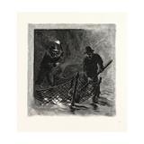 New Brunswick, Emptying Salmon Nets by Torchlight, Canada, Nineteenth Century Giclee Print