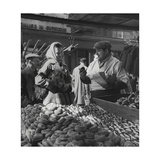 Woman with a Small Terrier Buying Bagels at a Market Stall, Possibly London, C.1945-50 Giclee Print