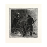 New Brunswick, Emptying Salmon Nets by Torchlight, Canada, Nineteenth Century Gicléedruk