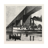 Montreal, Mail Steamer Passing under Victoria Bridge, Canada, Nineteenth Century Giclee Print