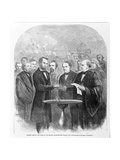 Lincoln Taking the Oath at His Second Inauguration, March 4, 1865, Published 1865 Giclee Print
