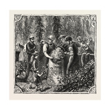 Hops and Hop Pickers, in a Kentish Hop Garden, Kent, England, Measuring the Hops, 1876, Uk Giclee Print