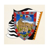 Coats of Arms for Palio of Siena for Lupa (She-Wolf) Nobile (Noble) Contrade, Heraldry, Italy Giclee Print