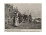 Father Kneipp's Water Cure, Patients Walking Barefooted on the Wet Grass at Worishofen, Germany Giclee Print