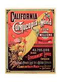 California, Cornucopia of the World, Published by Rand Mcnally and Co., C.1870 Giclee Print
