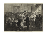The Distress in Paris, Giving Soup to the Poor at the Charity Kitchen, Rue De Sevres Giclee Print