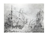Dutch Merchant Ships, by Willem Van De Welde the Younger (1633-1707), the Netherlands, 17th Century Giclee Print