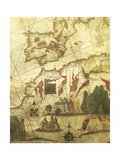 Map of Spain and Morocco Coast, by Diego Homen, from Portolan Chart, 1557 Giclee Print
