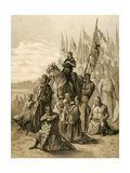 Seventh Crusade (1248-1254). Conquest of Damietta (June 7, 1249) by Saint Louis (1214-1270) Giclée-tryk