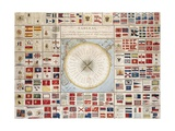The Flags of the Maritime Powers and Compass Rose, 1829, Illustrated Table, France, 19th Century Giclee Print