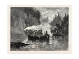 New Brunswick, Spearing Salmon by Night on the Restigouche, Canada, Nineteenth Century Gicléedruk