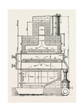 Compressed Oil Gas for Lighting Cars, Steamboats, and Buoys: Section a Furnace, 1882 Giclee Print