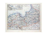 Map of East and West Prussia Königsberg (Kaliningrad Russia) and Danzig (Poland) 1899 Giclee Print