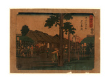 Ishiyakushi, Print Shows Travelers on Village Street with Many Buildings 1797-1858, Artist Giclee Print
