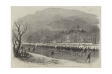 The First Lincolnshire Rifle Volunteers Taking a March Down the River Witham on Skates Giclee Print